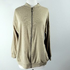 Bob Mackie Metallic Gold Oversized Sweater Jacket
